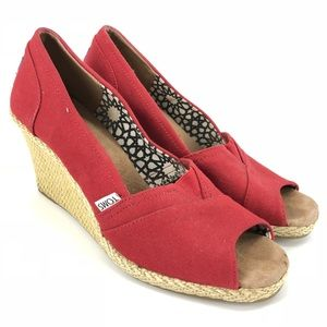 Shoes - Toms Red Canvas Wedge Peep Toe Heels Shoes